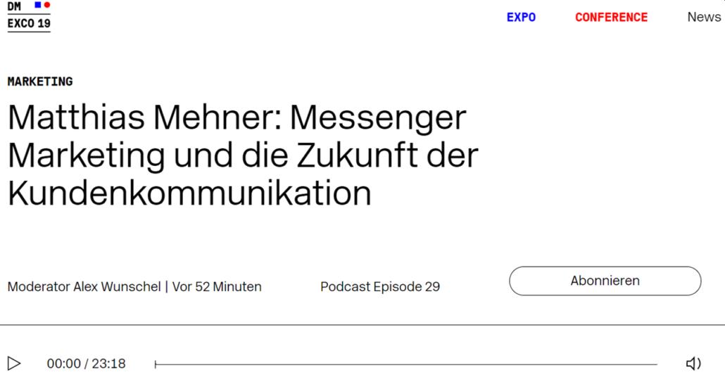 DMEXCO Podcast Play mehner Experte WhastApp
