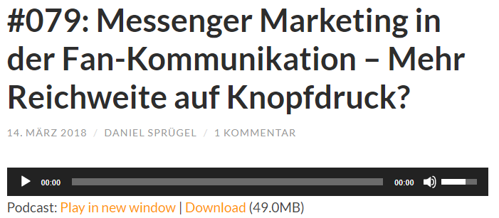Messenger Marketing Sportsmaniac Podcast