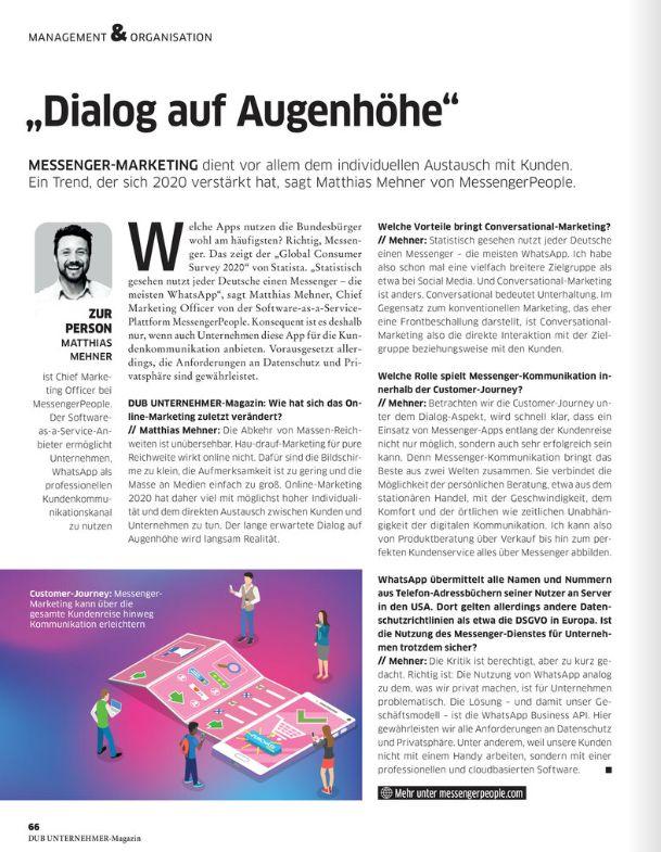 Matthias Mehner DUB Messenger Interview Dialog auf Augenhöhe